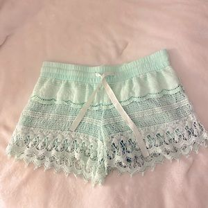 Mint color~Lace and Crochet shorts🌸